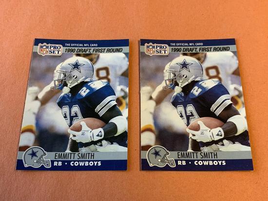 (2) EMMITT SMITH 1990 Proset Football ROOKIE Cards
