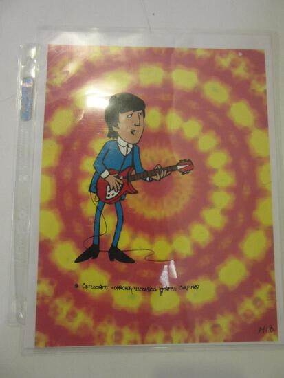 Cartoon Art of A Beatle With a Tie-Dye Print Back