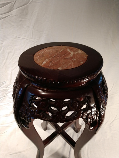 Oriental style wood with marble plant stand