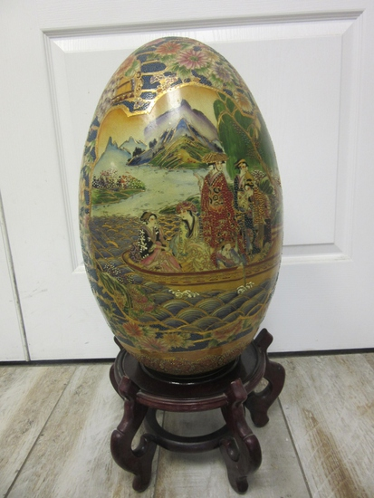 Large Asian Design Decorative Egg On Stand