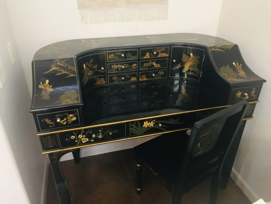 Oriental Black Lacquer Desk and Chair