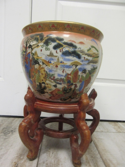 Asian Design Ceramic Pot on Wood Stand