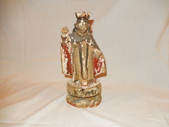 Old Carved Painted Wood Santos Religious Figure
