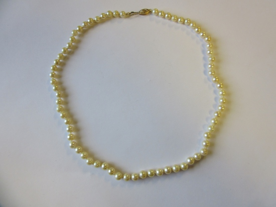 """17"""" Pearl Necklace with 14k Gold Clasp"""