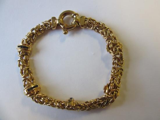 ".925 Silver 18.4g 8"" Gold-Tone Chain Bracelet"
