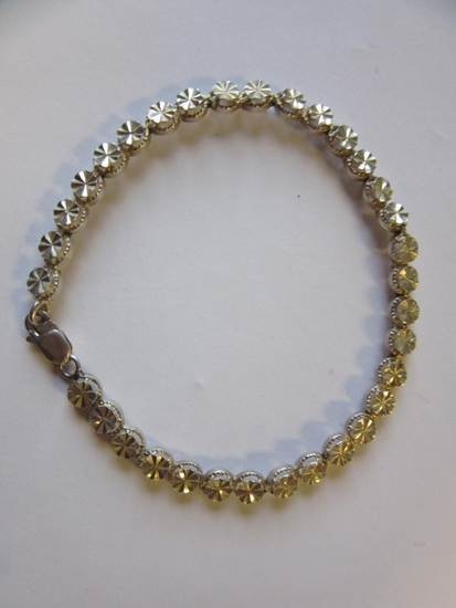 ".925 Silver 5.4g7.25"" Clear Stone Bracelet"