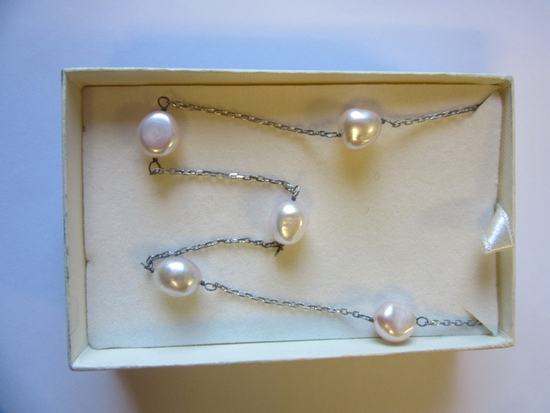 """.925 Silver 6.6g 17"""" 5 Freshwater Pearl Necklace"""
