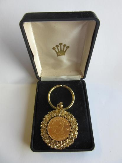 18KT Gold Electroplate Krugerrand Coin Key Chain