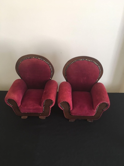 Set of miniature high back chairs
