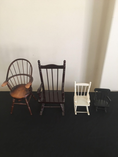 Lot of four miniature doll chairs