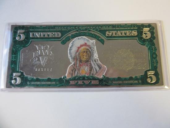 U.S. Series 1899 $5 Silver Certificate Copy