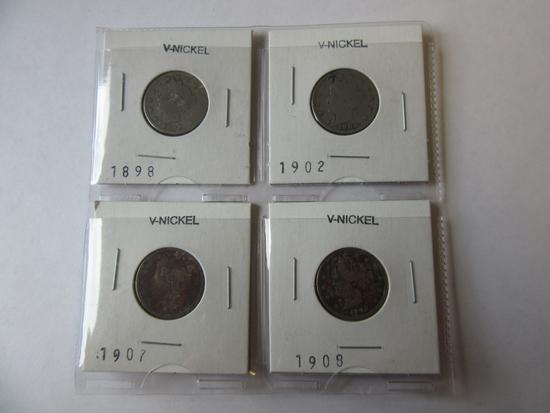 """Lot of 4 """"V"""" Nickels (1898, 1902, 1907, 1908)"""