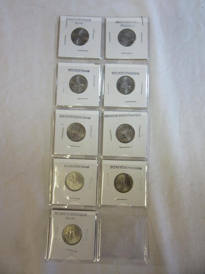 Lot of 9 Jefferson Nickels