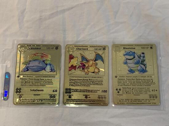 Lot of 3 Limited Edition Gold Metal Pokemon Cards