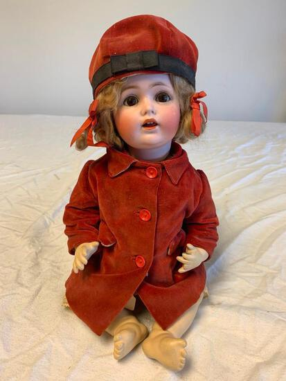 """Antique German Revalo Bisque 16"""" Doll with composition and Red Velvet Dress"""