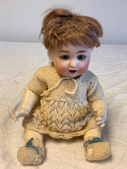 """Antique Germany Bisque 14"""" Doll with composition Body and Sleepy Eyes Open Mouth"""