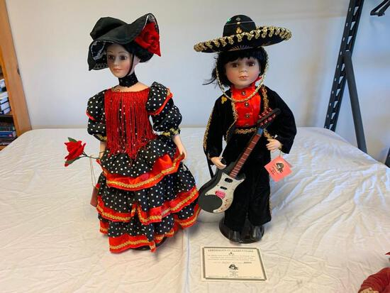 2 Traditions Doll Collection Porcelain Spanish Doll With Stands 22? Mariachi and Flamenco