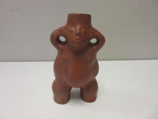 "Ceramic Stoneware Pot with Woman Design 7"" Tall"