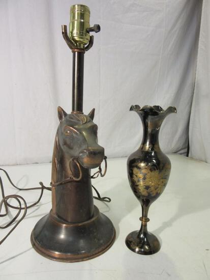 """Lot of 2 Vintage Brass Decorative Pieces: 16"""" Horse Head Lamp and 10"""" Floral Vase"""