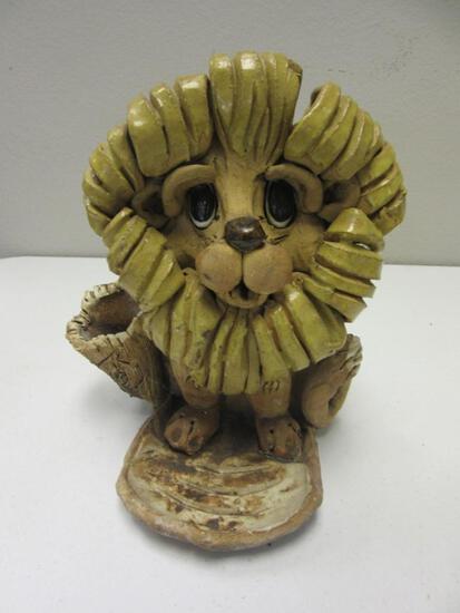 "Lion Design Ceramic Flower Pot 9"" Tall"