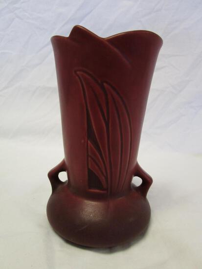 Roseville U.S.A. Red Grass Blade Art Deco Pottery 780-6