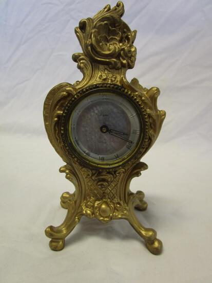 Artco Luminous gold-tone metal wind up clock for parts and repair