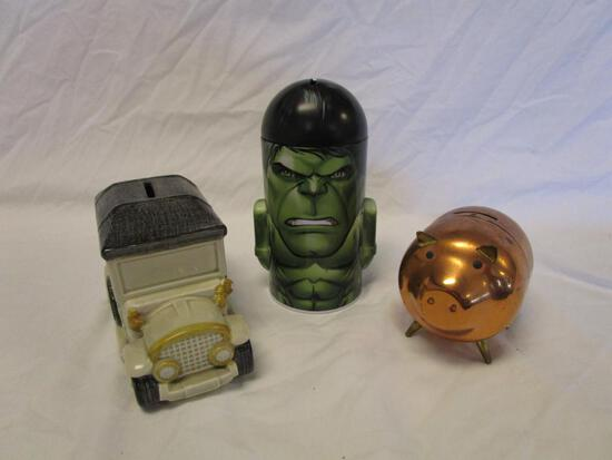 Lot of 3 unique coin banks: piggy, car, and the Hulk