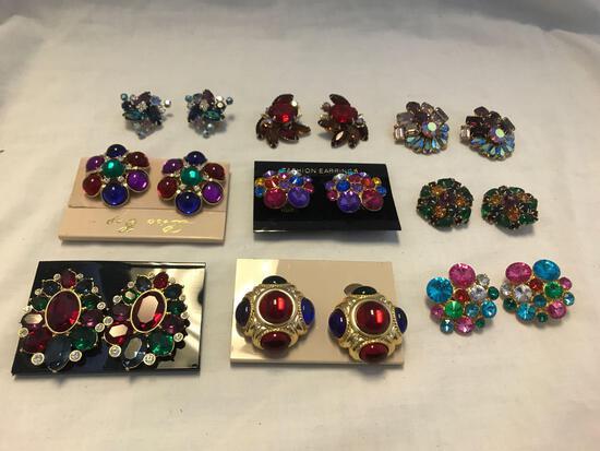 Lot of 9 Multi-Colored Rhinestone Clip-On Earrings