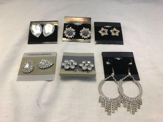 Lot of 6 Silver-Tone Clear Rhinestone Earrings