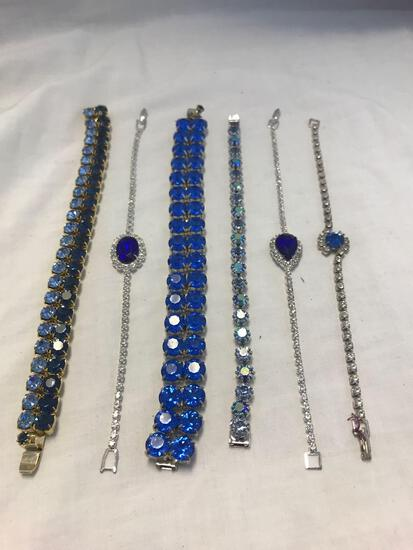 Lot of 6 Blue Rhinestone Bracelets