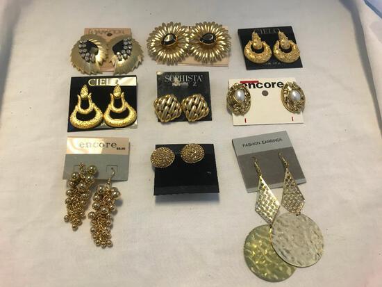 Lot of 9 Gold-Tone Pierced Costume Earrings