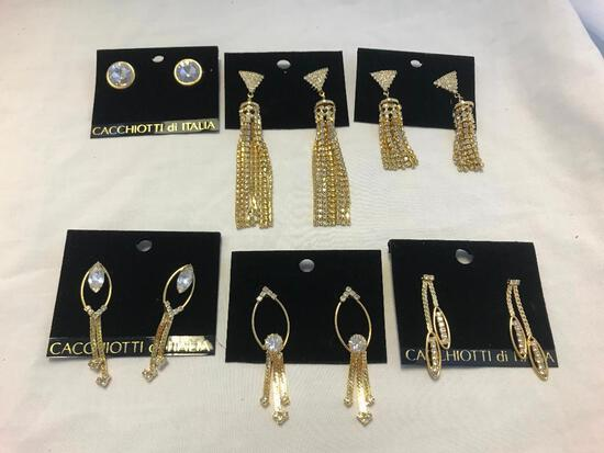 Lot of 6 Gold-Tone and Rhinestone Earrings