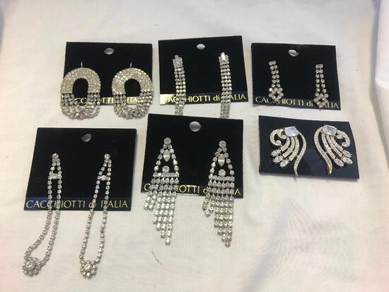 Lot of 6 Rhinestone Pierced Costume Earrings