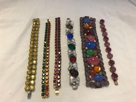 Lot of 6 Colorful Rhinestone Bracelets