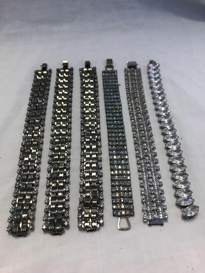 Lot of 6 Silver-Tone Rhinestone Bracelets