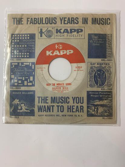 David Hill ?? Living Doll / Keep The Miracle Going 45 RPM 1959 Record