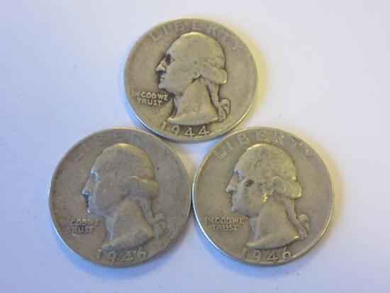 Lot of 3 .90 Silver Washington Quarters (1944,1946,1946)