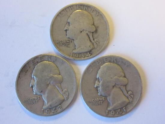 Lot of 3 .90 Silver Washington Quarters (1934,1941,1942)