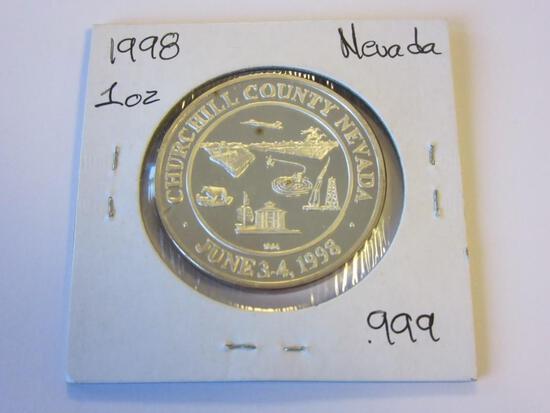 .999 Silver 1oz 1998 Churchill County Nevada Bullion