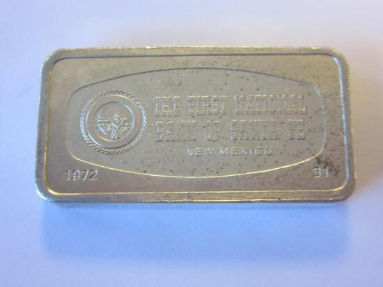 .925 Silver 1000 Grains The First National Bank of Sante Fe New Mexico Bullion