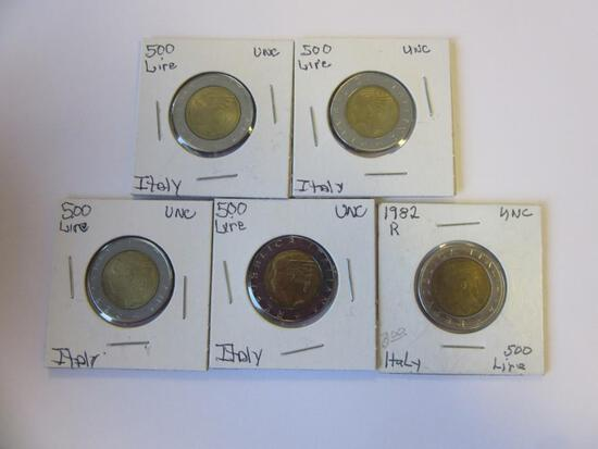Lot of 5 Italian 500 Lire Coins
