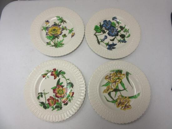 "Set of 4 Cauldon English Floral Design Porcelain Plates 9.5"" in Diameter"