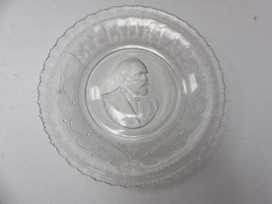 "President James A. Garfield Glass Memorial Plate 10"" in Diameter"