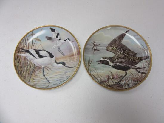 """Pair of Franklin Porcelain Water Birds of the World Decorative 9"""" Plates"""