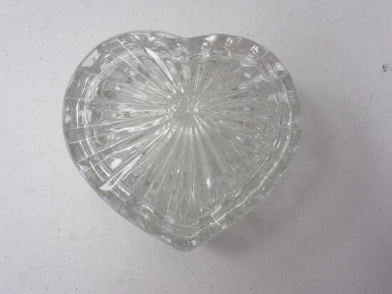 "Crystal Heart Shaped Trinket Bowl 4""x4""x2"""