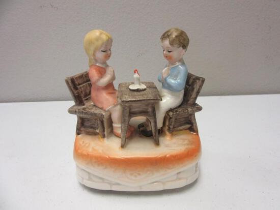 """Pair of Children Praying Ceramic Music Box 5""""x3""""x5.5"""""""