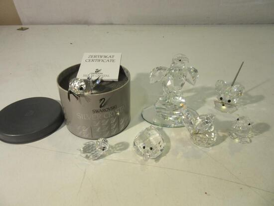 Lot of 7 Swarovski Silver Crystal Figurines incl: Seal, Eagle, Mouse, Chick, 2 Ducks, and Butterfly