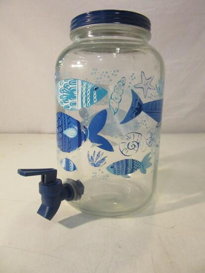 1 Gallon Glass Water/Juice Dispenser w/ Fish Print