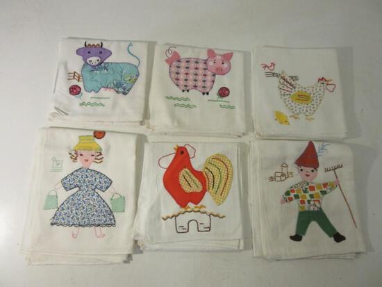 Lot of 6 Decorative Kitchen Towels w/ Farm Animals and Farmers Cross Stitch