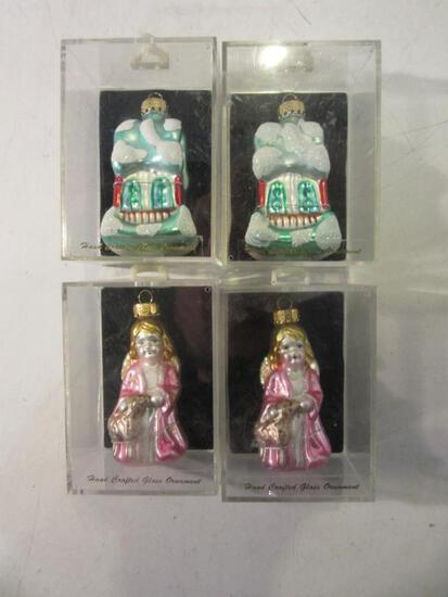 Lot of 4 Hand Crafted Glass Ornaments